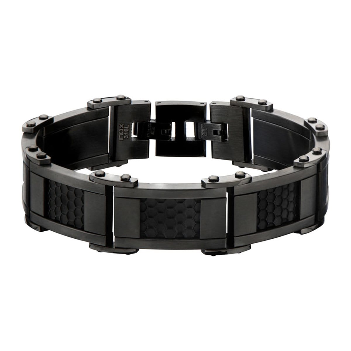 Black & Dark Gray Stainless Steel Adjustable Honeycomb Bracelet - Inox Jewelry India
