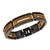 Black Stainless Steel & Ebony Wood Cut-Out Adjustable Bracelet - Inox Jewelry India
