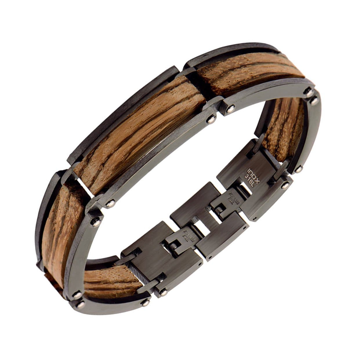 Dark Gray Stainless Steel & Zebra Wood Adjustable Block Bracelet - Inox Jewelry India