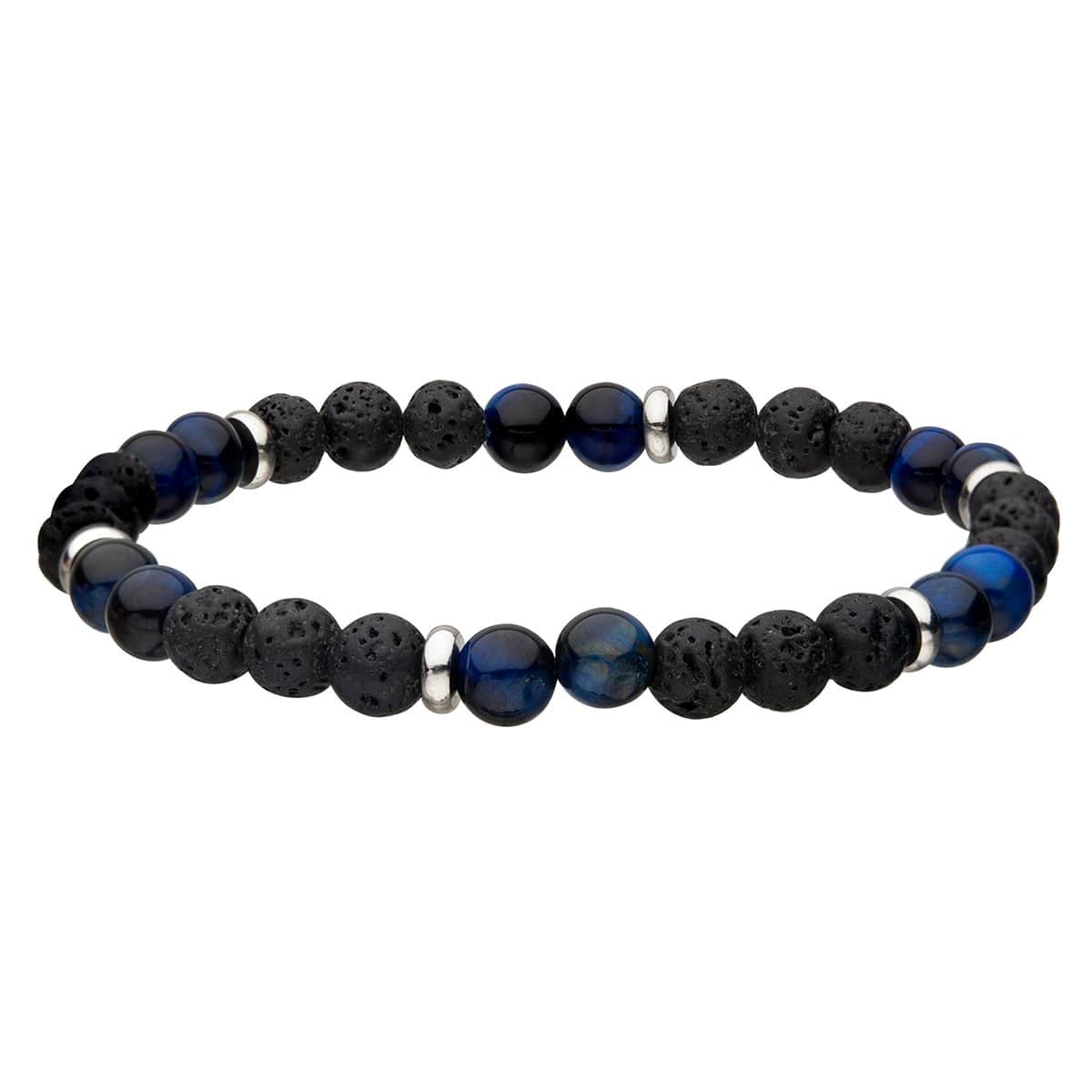 Silver Stainless Steel with Blue Tiger's Eye & Black Molten Lava Bead Expandable Bracelet