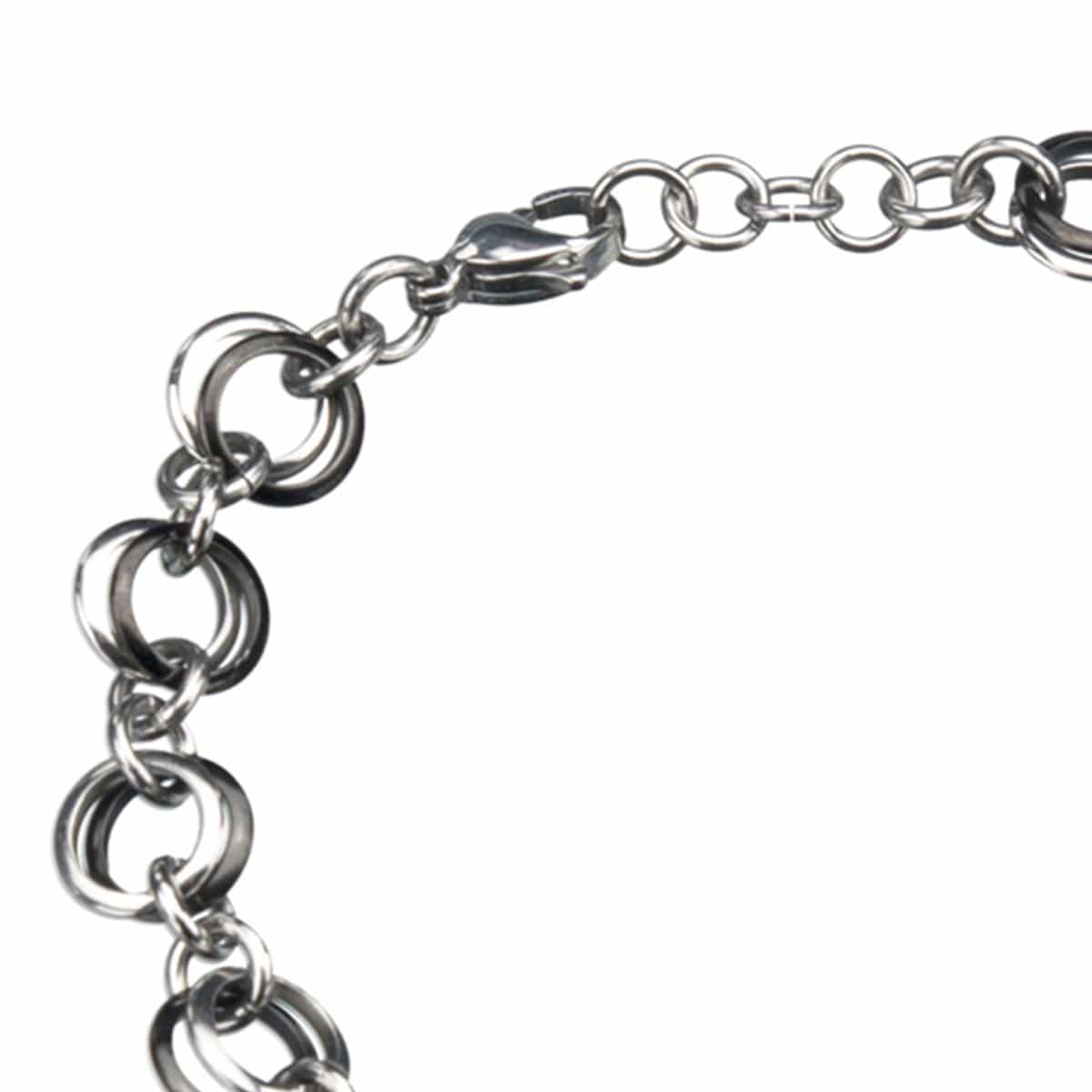 Black & Silver Stainless Steel Multi-Link Polished Bracelet