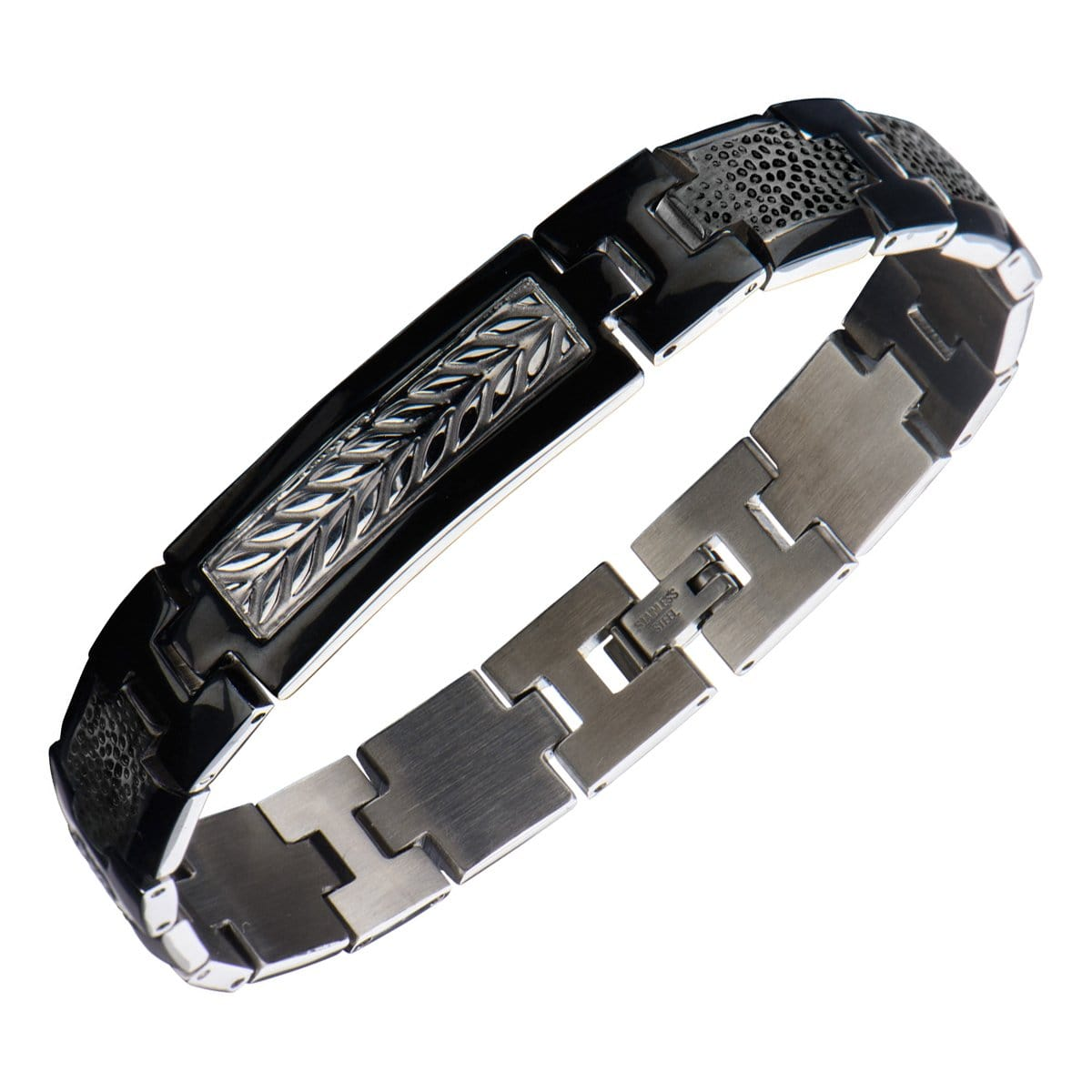Black & Silver Stainless Steel Leaf Patterned Link Bracelet