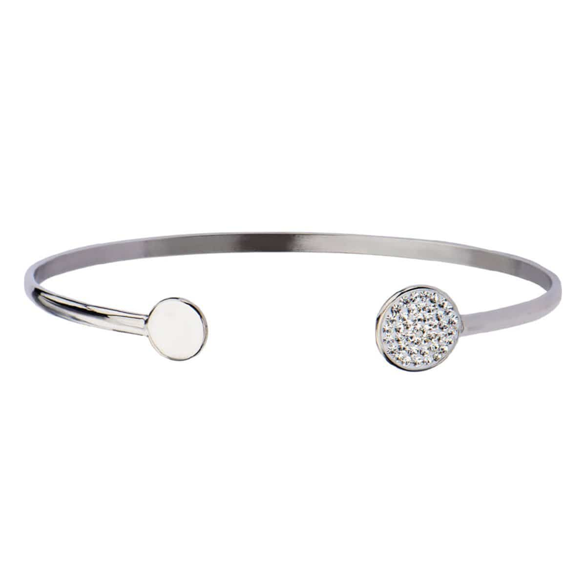 Silver Stainless Steel Double Disc with Studded Crystal Open Bangle