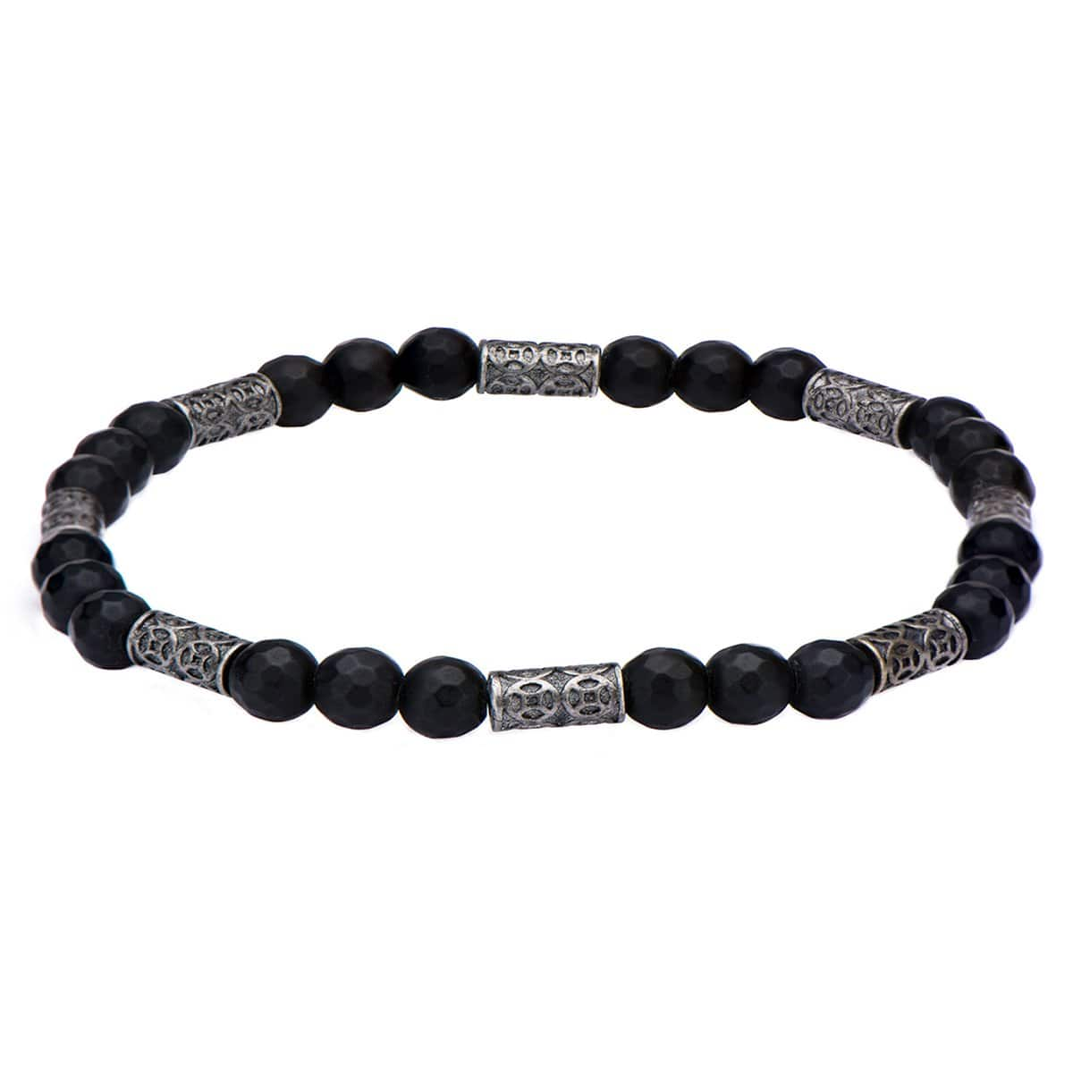 Silver Stainless Steel with Black Hematite Antique Bead Bracelet