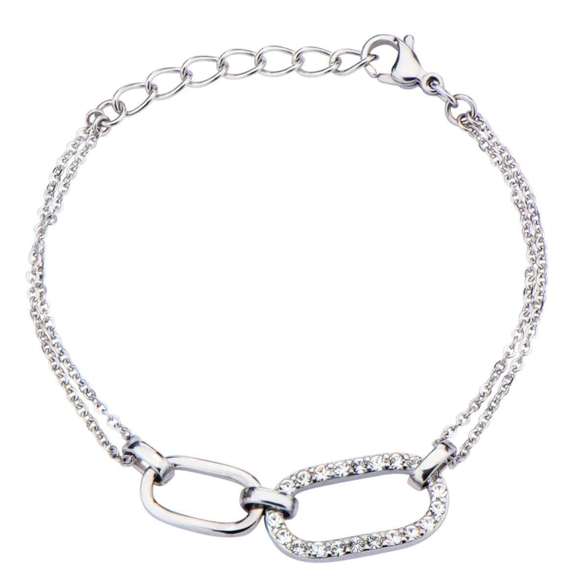 Silver Stainless Steel Two Oval CZ Bracelet