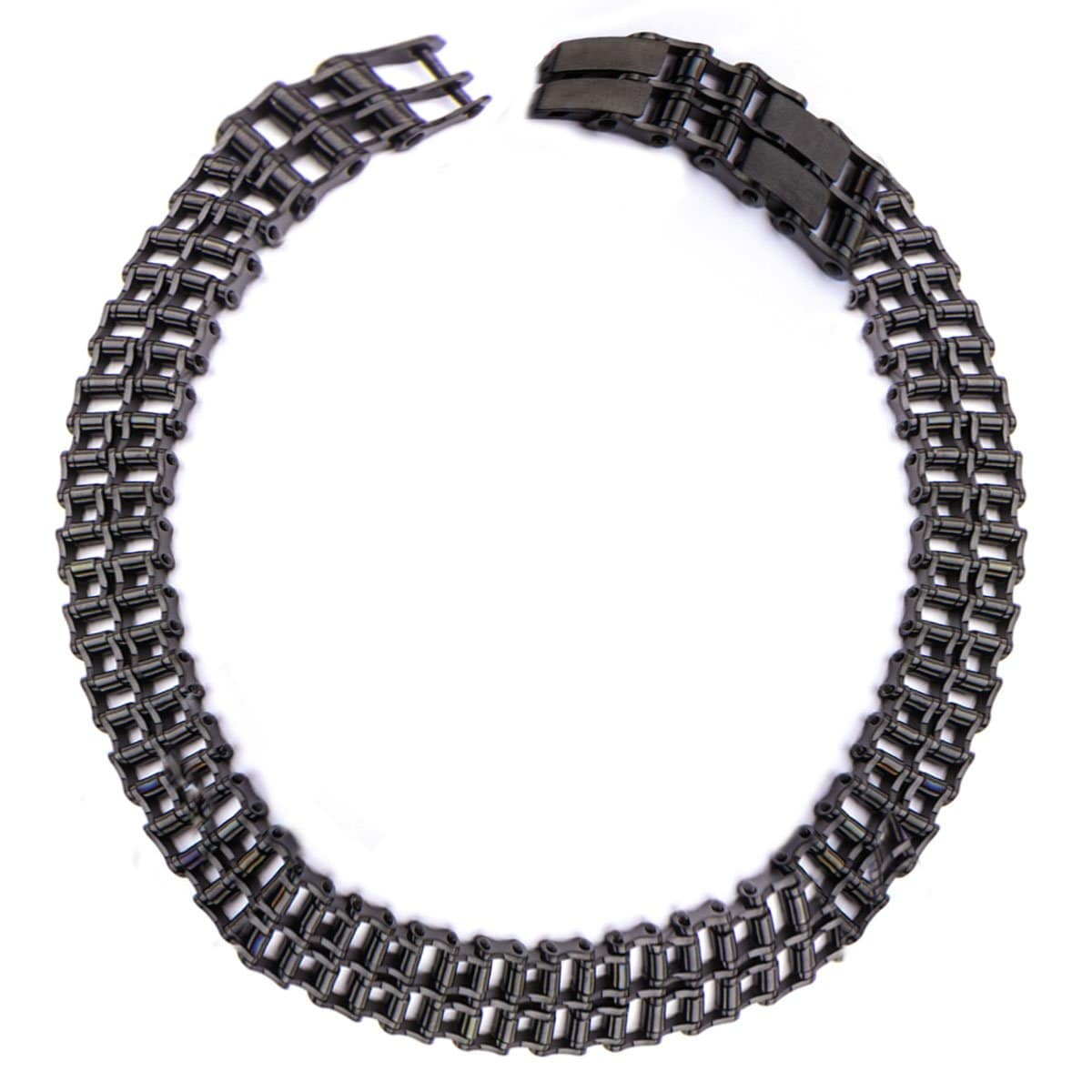 Black Stainless Steel Double Motorcycle Chain Adjustable Bracelet - Inox Jewelry India