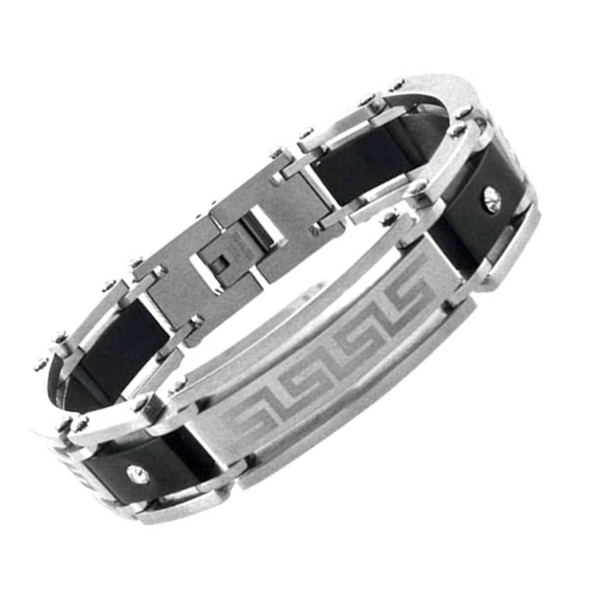 Black & Silver Stainless Steel Greek Key Pattern with CZ Bracelet - Inox Jewelry India