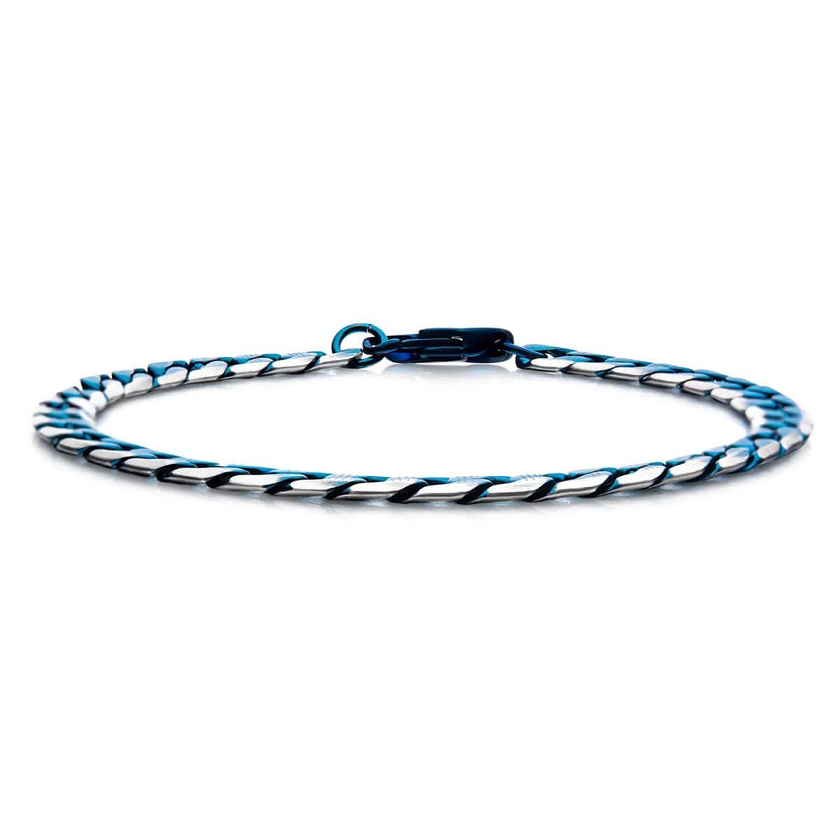 Blue Stainless Steel 6mm Curb Cuban Chain Bracelet