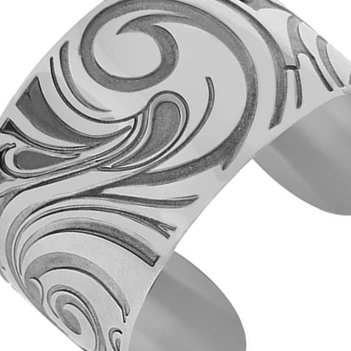 Silver Stainless Steel Etched Waves Cuff Bangle