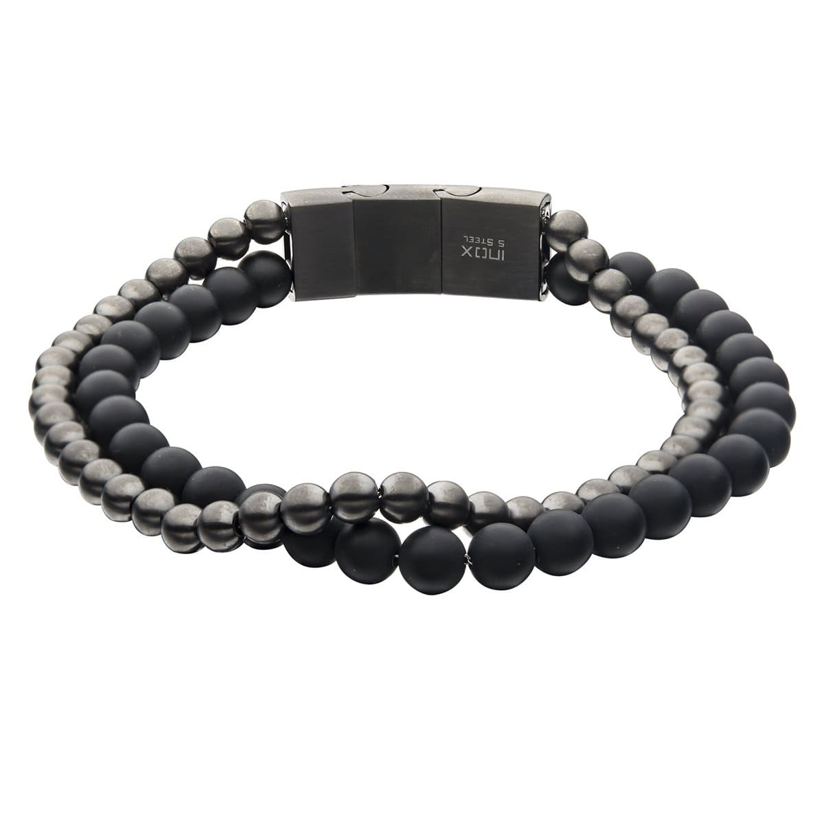 Silver Stainless Steel Oxidized Finish Gun Metal with Black Onyx Bead Intertwined Bracelet