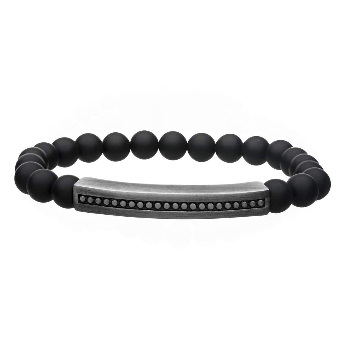 Silver Stainless Steel Oxodized Finish Gun Metal with Black Molten Lava Bead Dotted Plate Stretch Bracelet