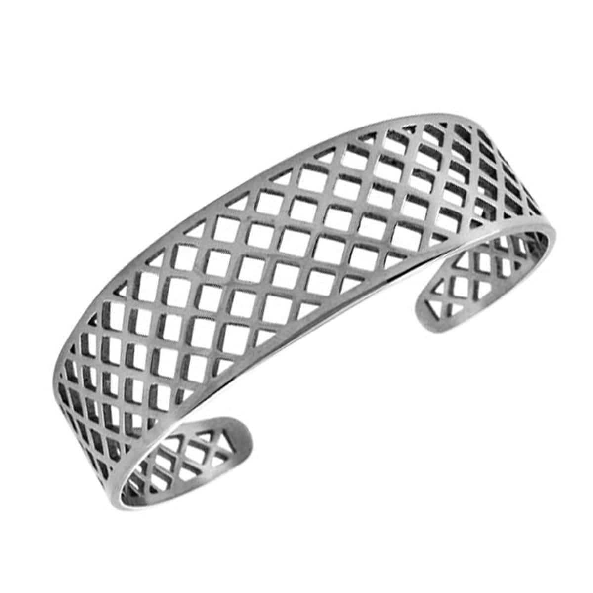 Silver Stainless Steel Basket Weave Cut-Out Cuff Kadaa