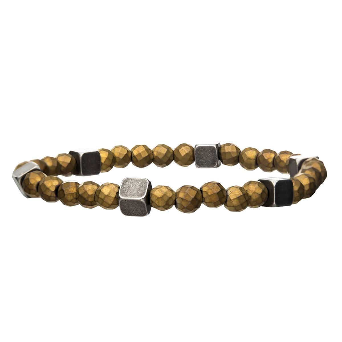 Silver Antique Brass Block with Gold Hematite Bead Expandable Bracelet