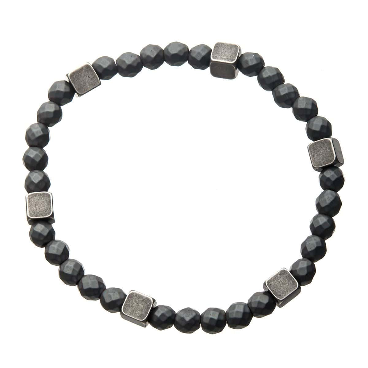 Silver Antique Brass Block with Gray Hematite Bead Expandable Bracelet