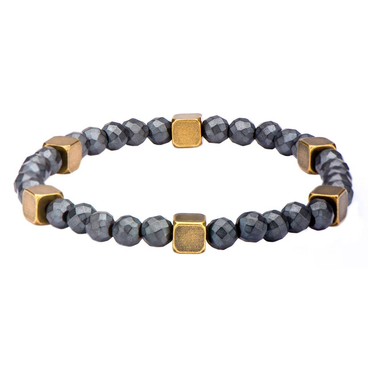 Gold Anitque Brass Block with Silver Hematite Bead Expandable Bracelet