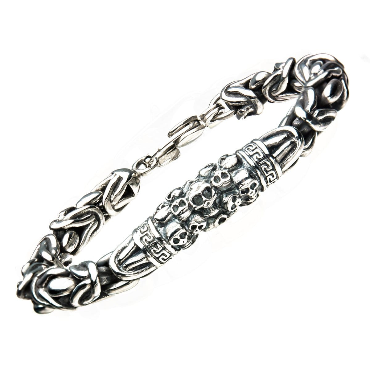 Silver Stainless Steel Byzantine Chain Mountain of Skulls Bracelet