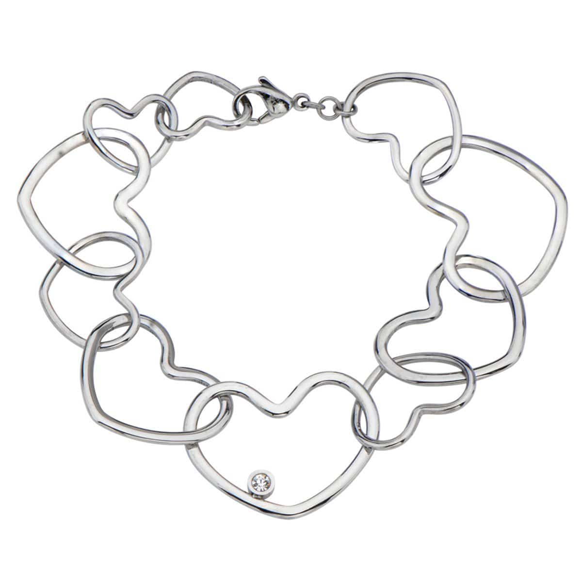 Silver Stainless Steel Interlocking Heart with CZ Detail Bracelet