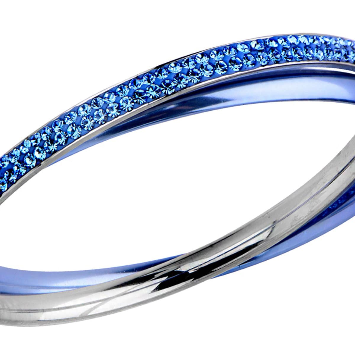 Blue & Silver Stainless Steel with Light Blue Crystal Double Bangle
