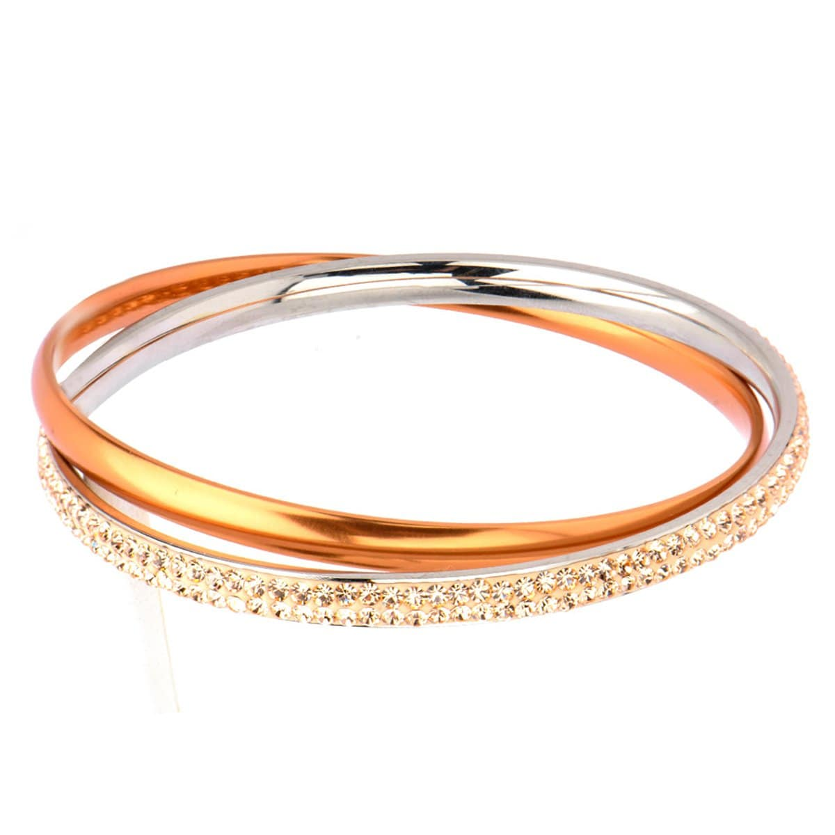 Rust & Silver Stainless Steel with Yellow Crystal Double Bangle