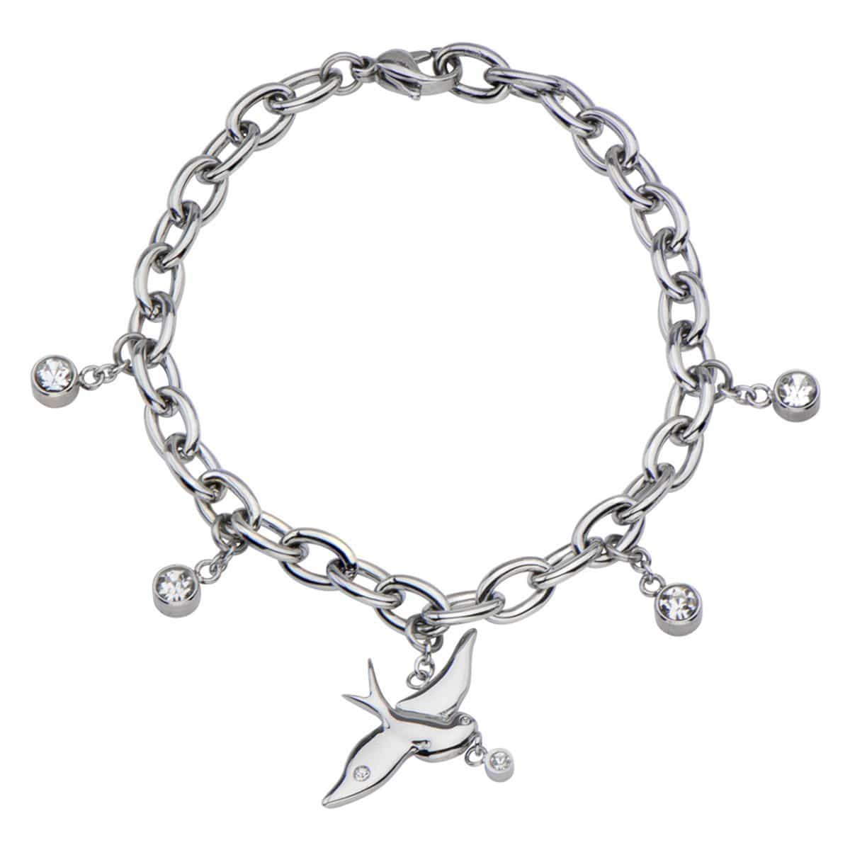 Silver Stainless Steel Dove & Round CZ Charm Bracelet - Inox Jewelry India