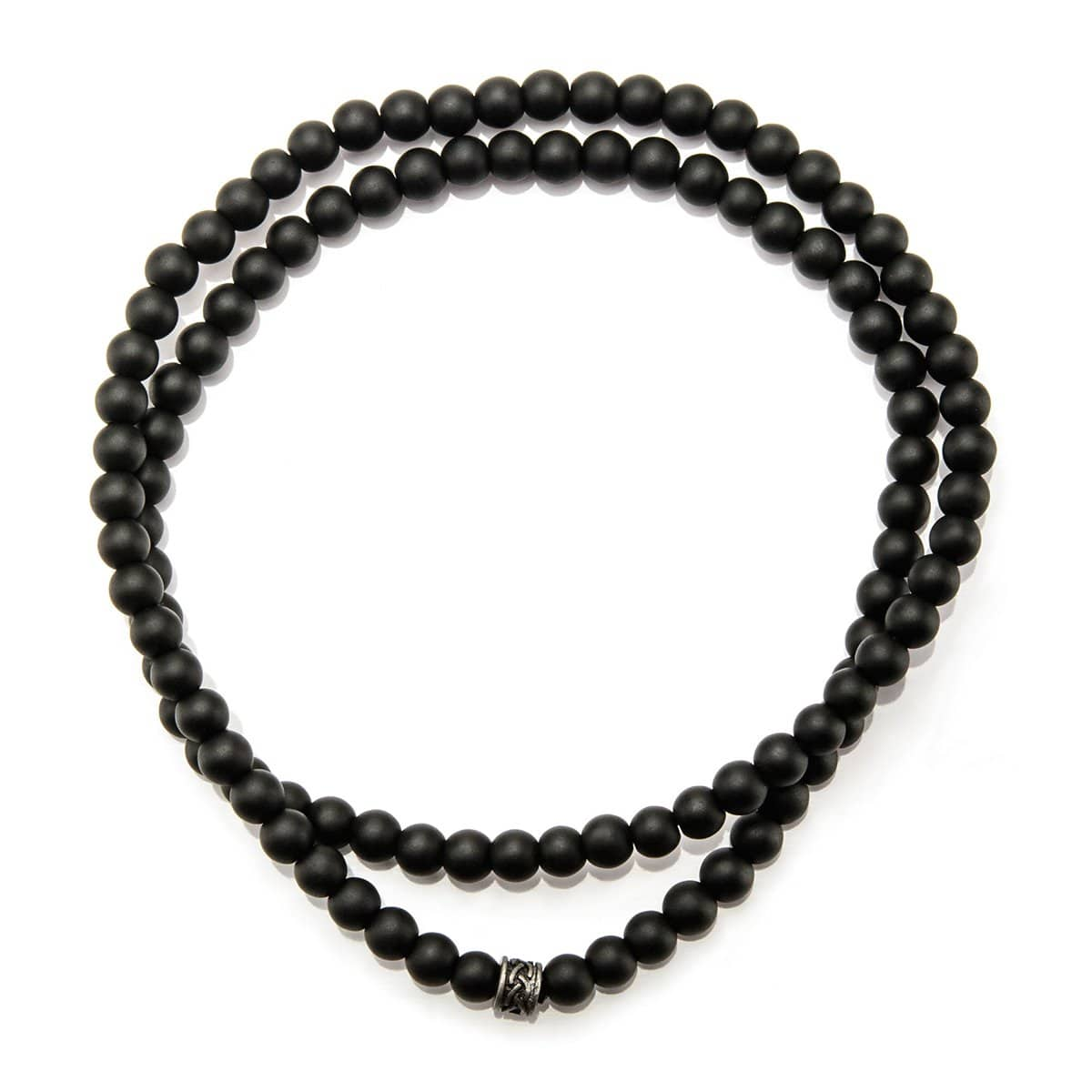 Darkened Silver with Black Onyx Stone Bead Intertwined Stackable Bracelet
