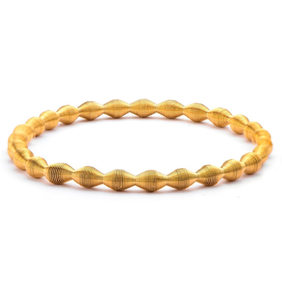 Gold Stainless Steel Polished Spring Stretch Bracelet