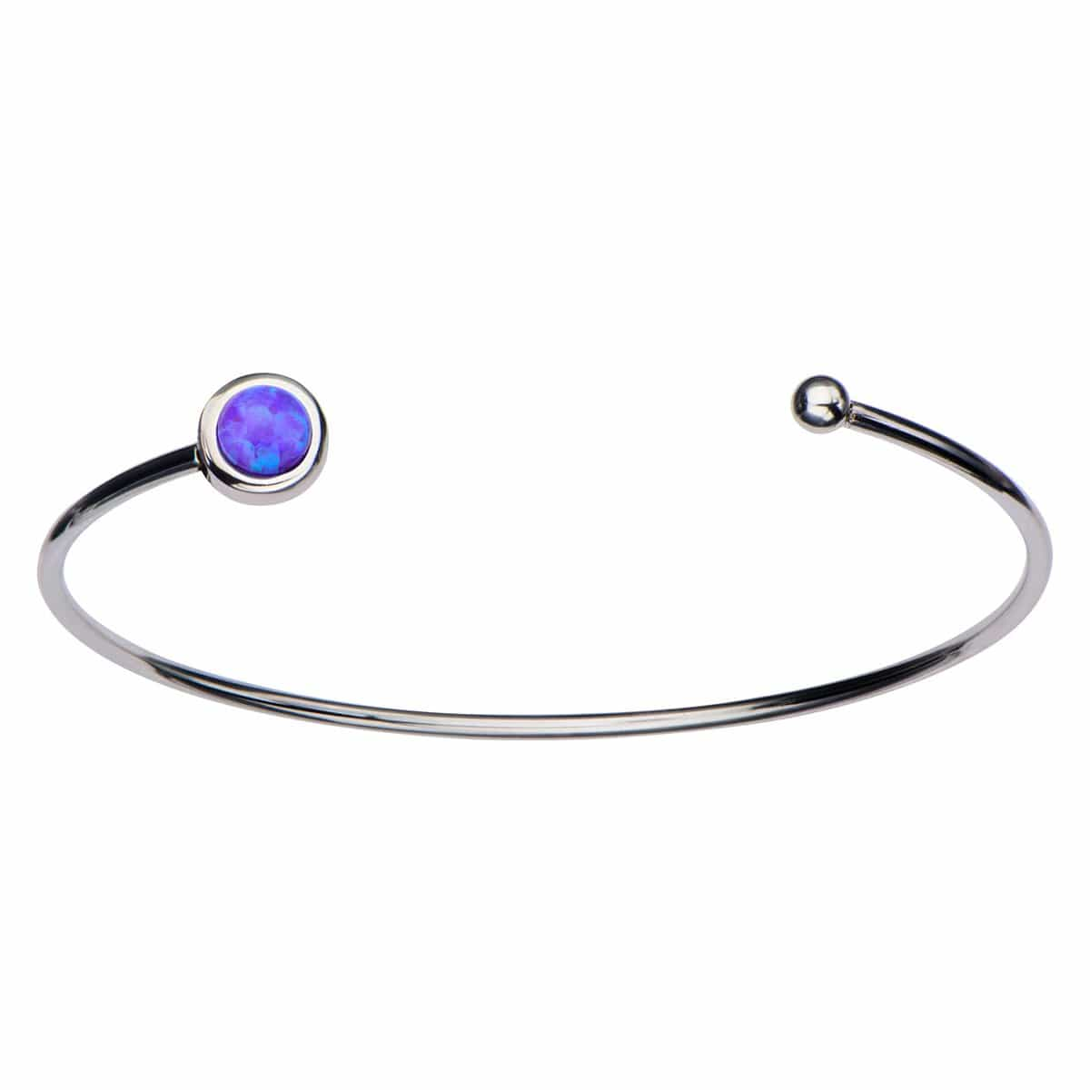 Silver Stainless Steel Bezel Set Purple Artificial Opal in Open Cuff Bangle