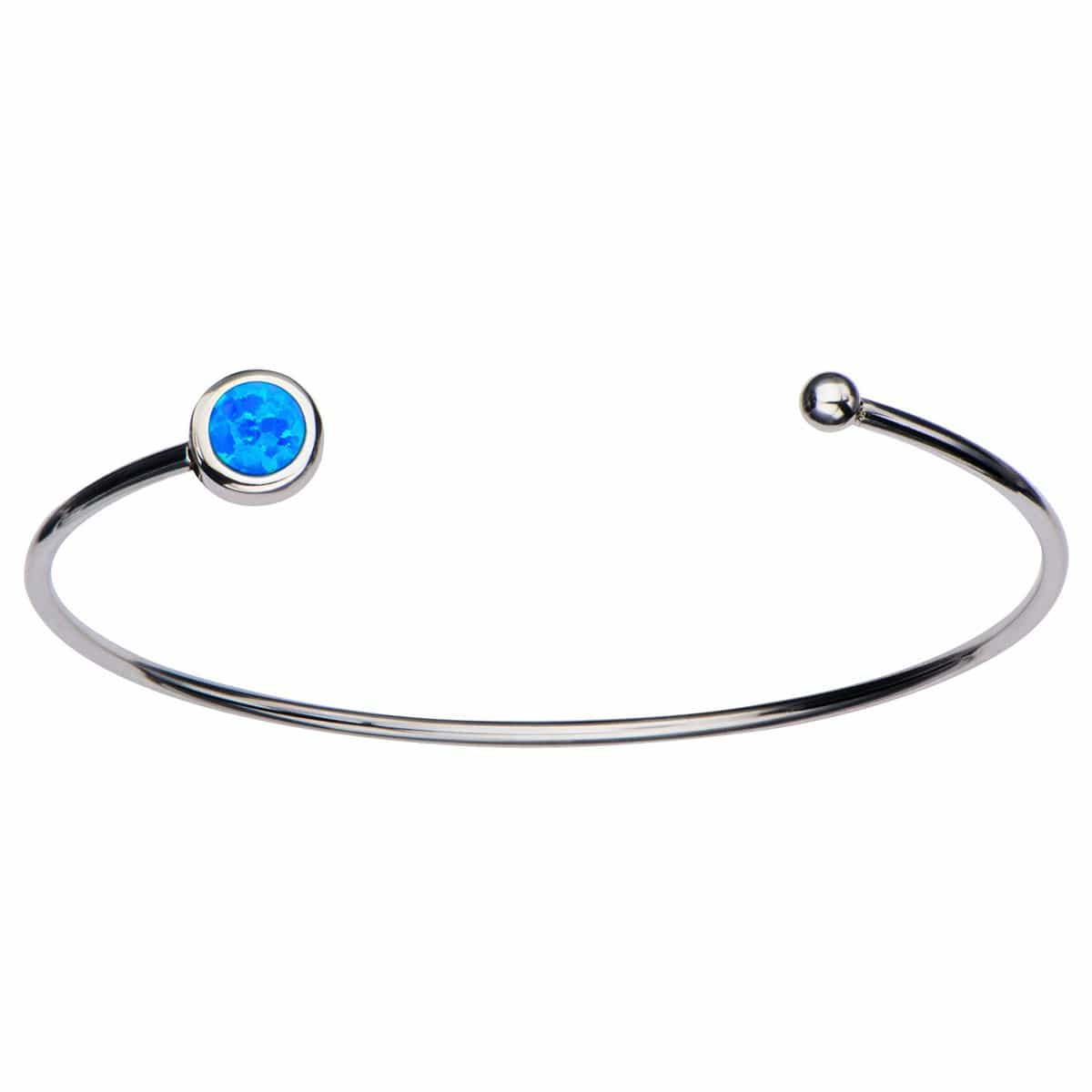 Silver Stainless Steel Bezel Set Blue Artificial Opal in Open Cuff Bangle