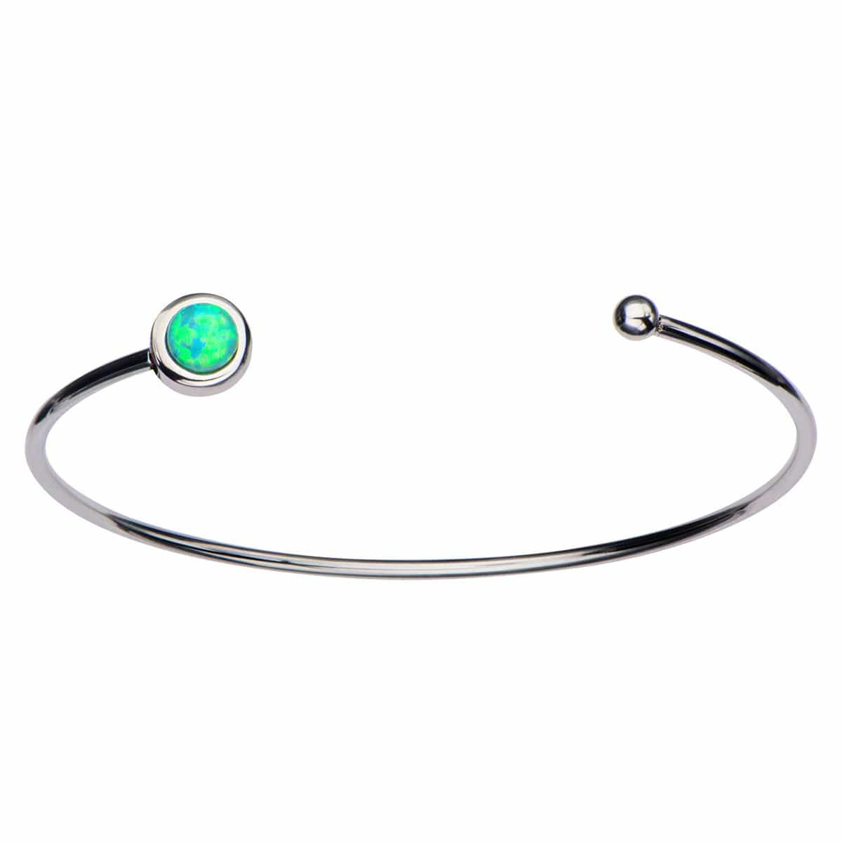 Silver Stainless Steel Bezel Set Green Artificial Opal in Open Cuff Bangle