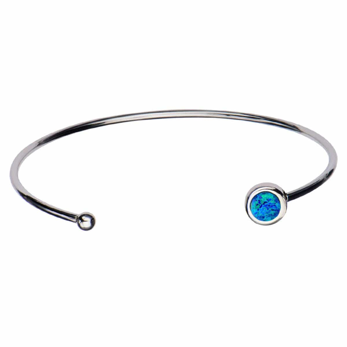 Silver Stainless Steel Bezel Set Dark Blue Artificial Opal in Open Cuff Bangle