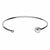 Silver Stainless Steel Bezel Set Pearl in Open Cuff Bangle
