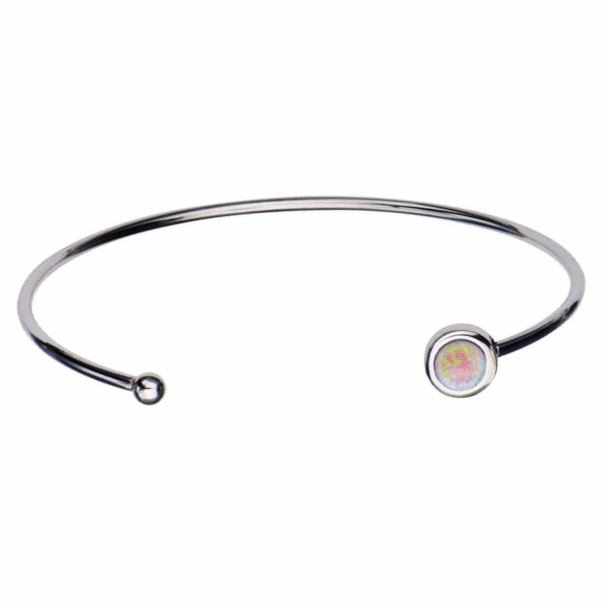 Silver Stainless Steel Bezel Set Artificial Opal in Open Cuff Bangle