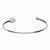 Silver Stainless Steel Bezel Set White Artificial Opal in Open Cuff Bangle