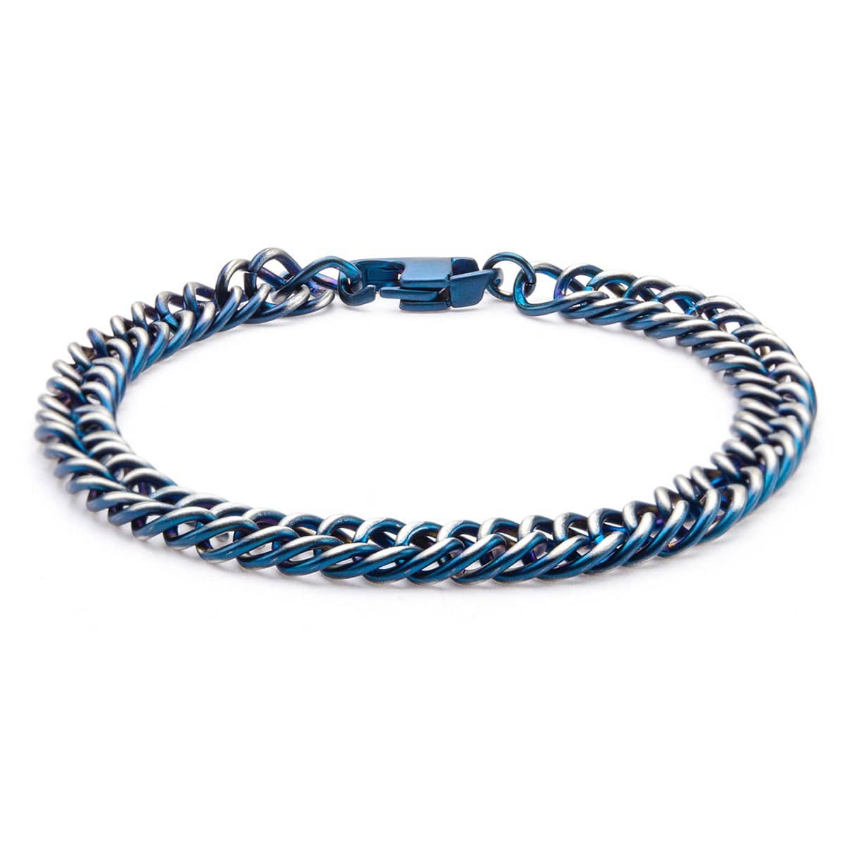Blue Stainless Steel Denim Fade Curb Chain Bracelet