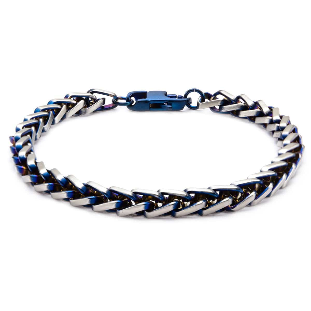 Blue & Silver Stainless Steel Rounded Franco Chain Denim Fade Bracelet