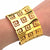 Gold Stainless Steel Greek Design Cut-Out Bangle Cuff
