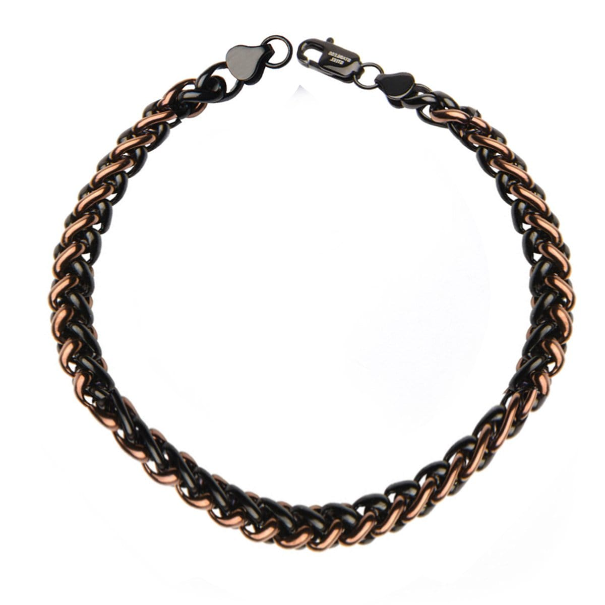 Brown & Black Stainless Steel Wheat Chain Bracelet - Inox Jewelry India