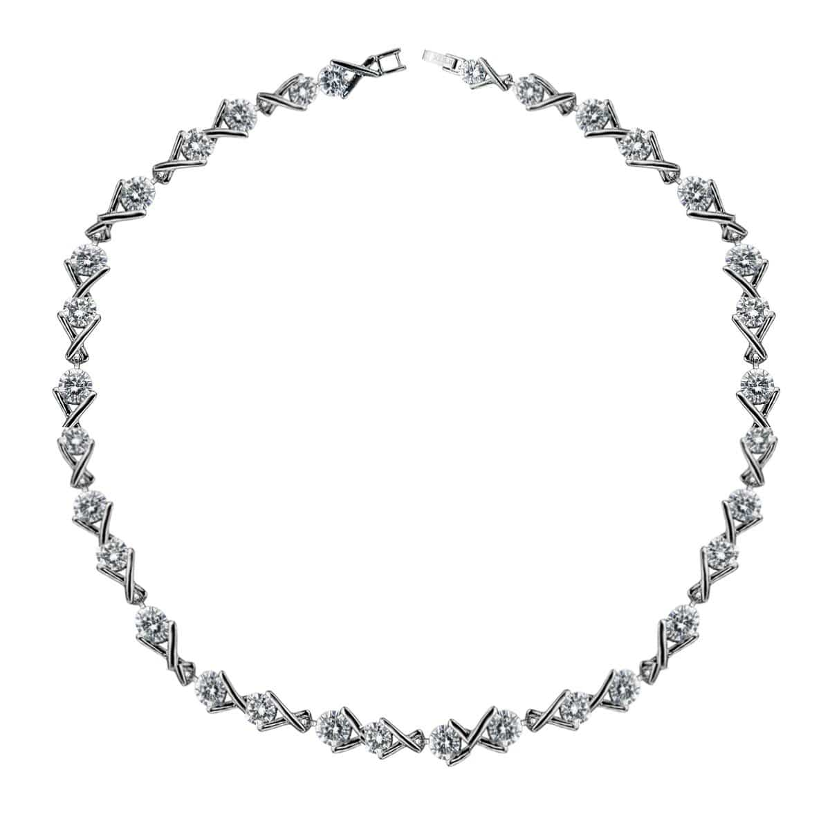 Silver Stainless Steel with Round CZ and X-Design Tennis Bracelet
