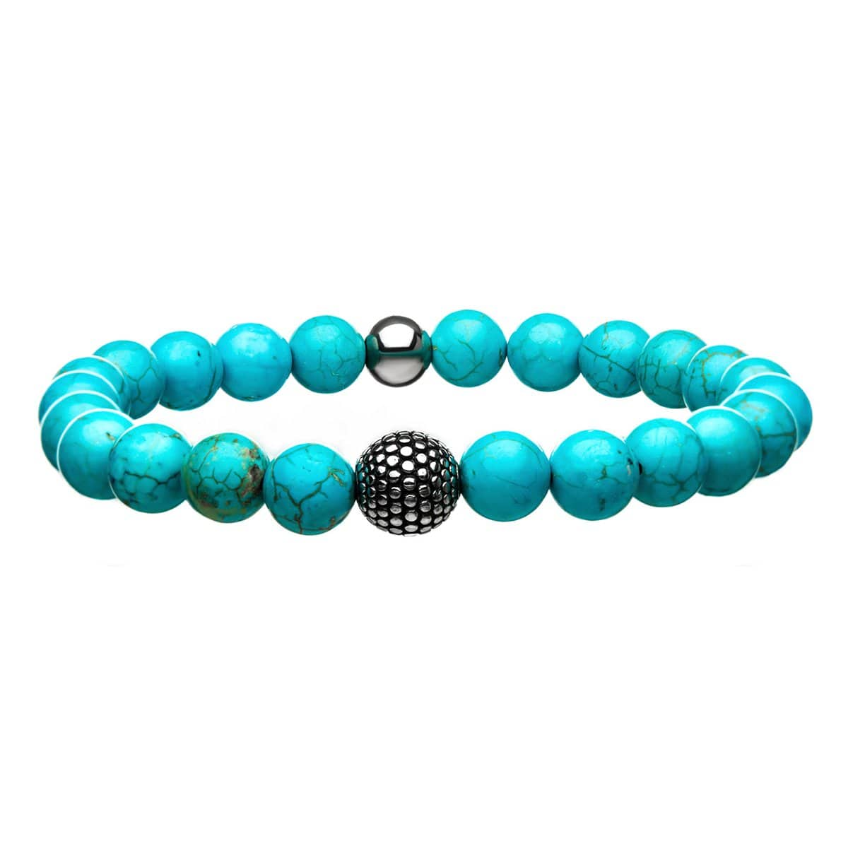 Darkened Silver Stainless Steel with Blue Turquoise Stone Bead Expandable Bracelet