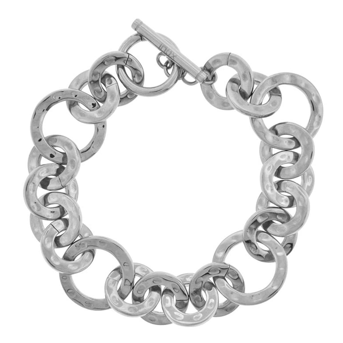 Silver Stainless Steel Polished & Hammered Round Link Toggle Bracelet