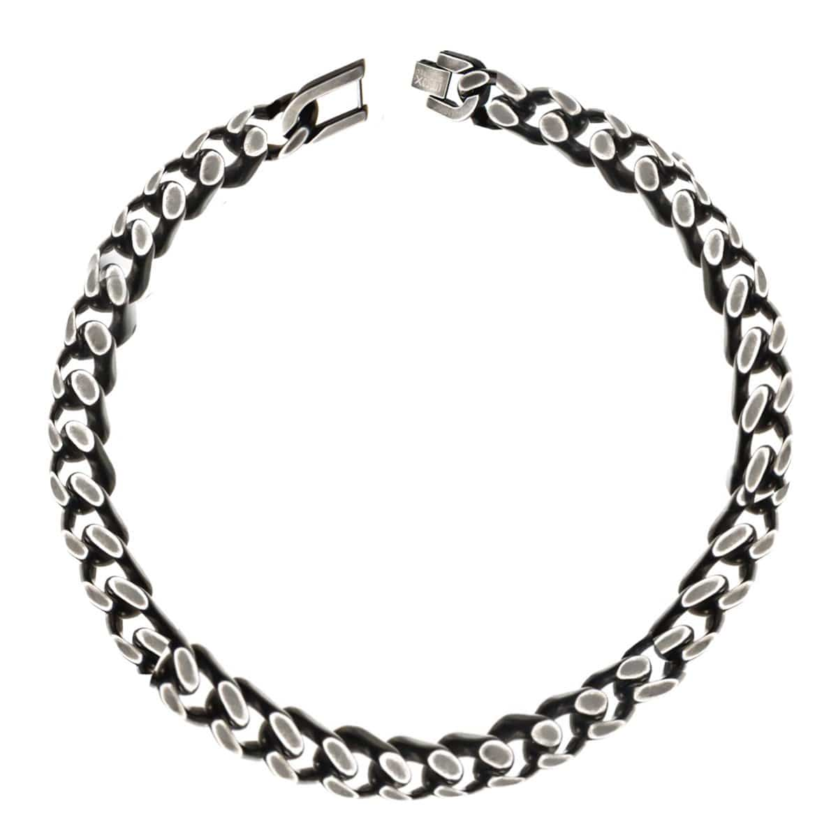 Silver Stainless Steel Oxidized Finish 11mm Diamond Cut Link Chain Bracelet