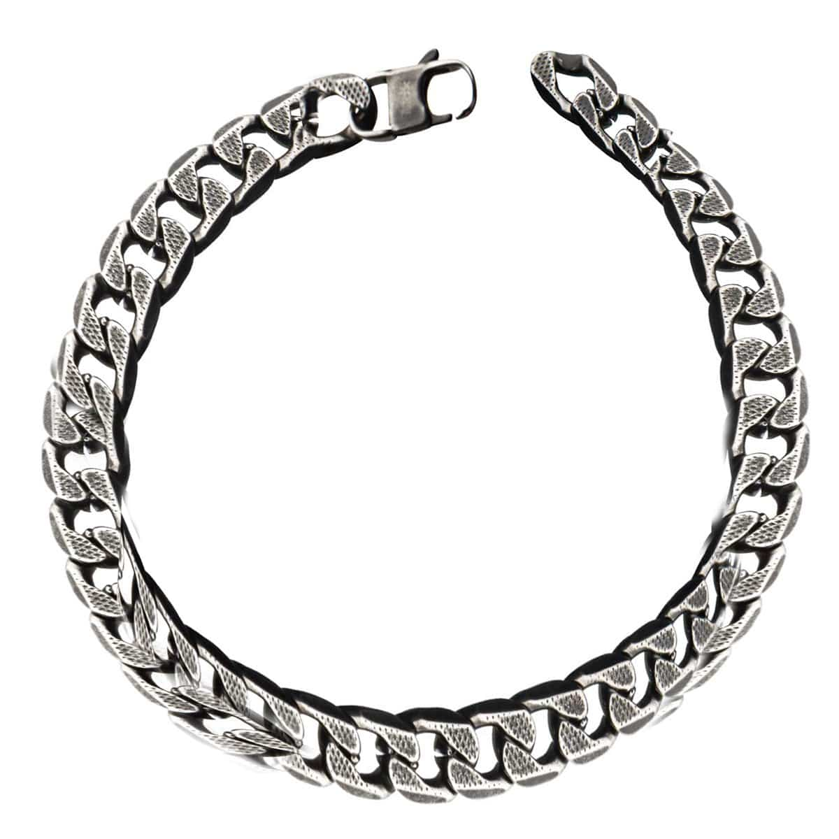 Silver Stainless Steel Oxidized Finish 11mm Curb Chain Bracelet
