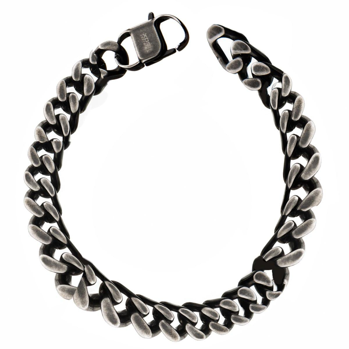 Silver Stainless Steel Oxidized Finish 13mm Diamond Cut Link Chain Bracelet
