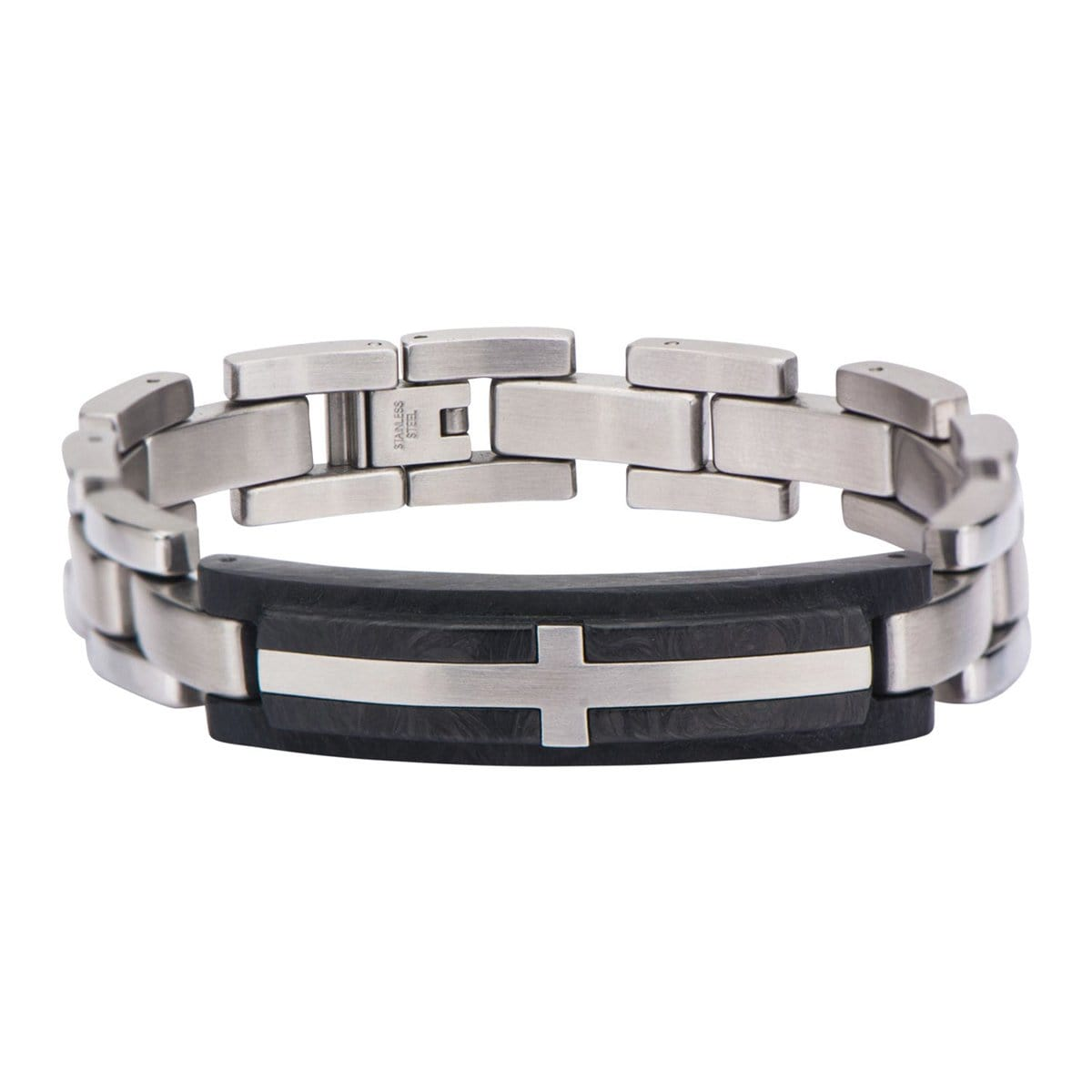Silver Stainless Steel & Black Carbon Graphite with Inlayed Cross ID Bracelet