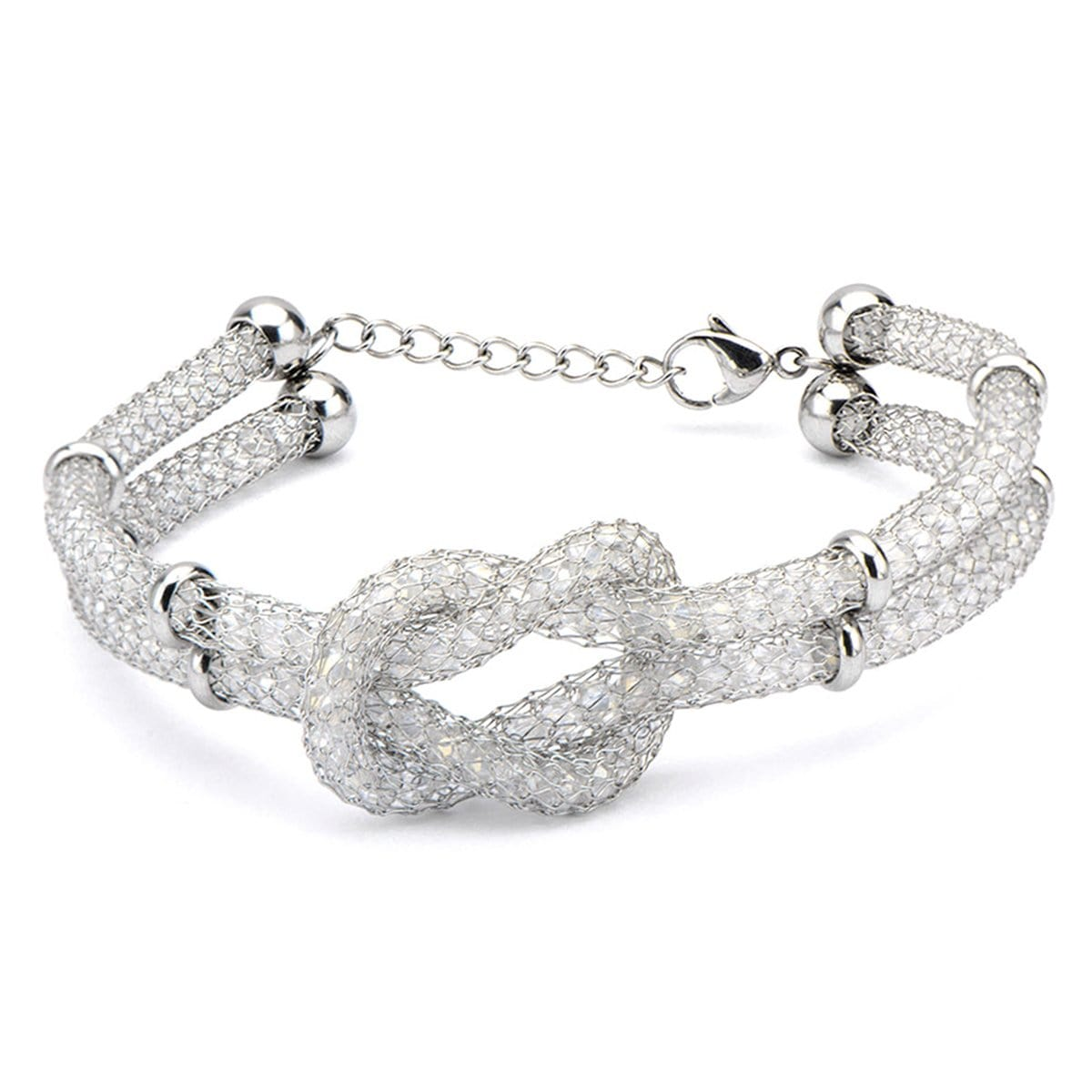Silver Stainless Steel Hercules Knot with Bead Detail Bracelet