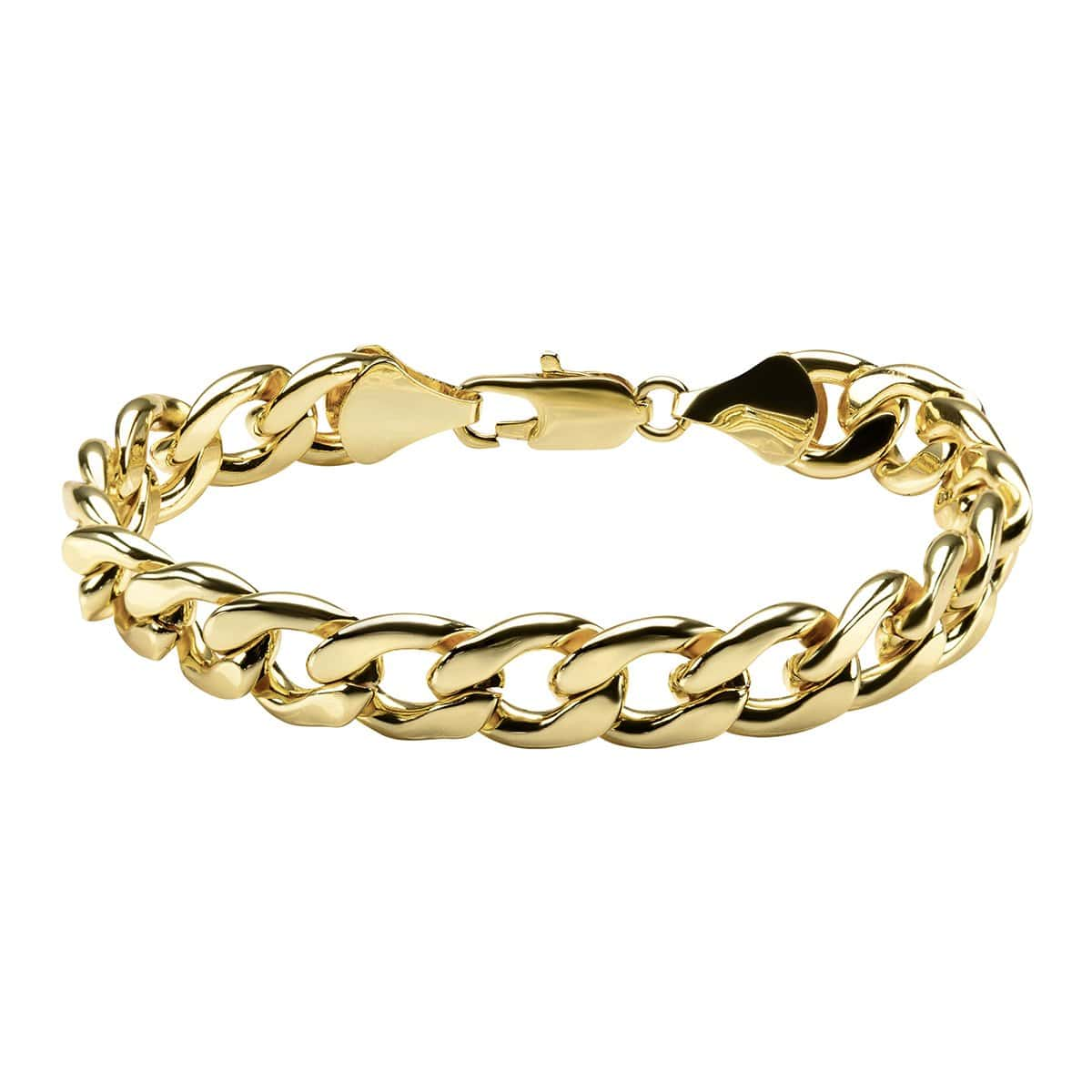 Gold Stainless Steel Diamond Cut Curb Chain Bracelet
