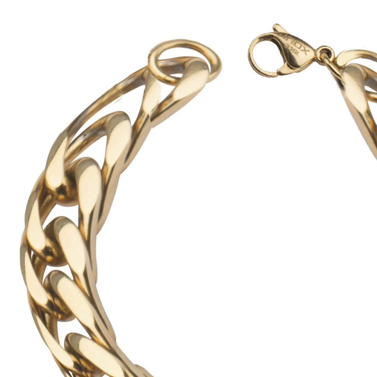 Gold Stainless Steel Fancy Curb Chain Bracelet