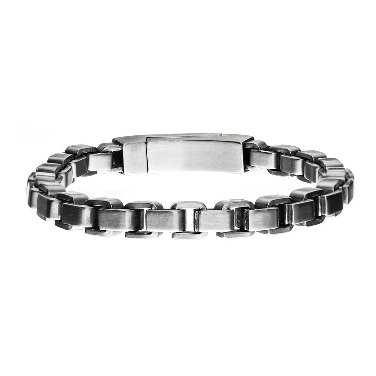 Silver Stainless Steel Bold Box Bracelet