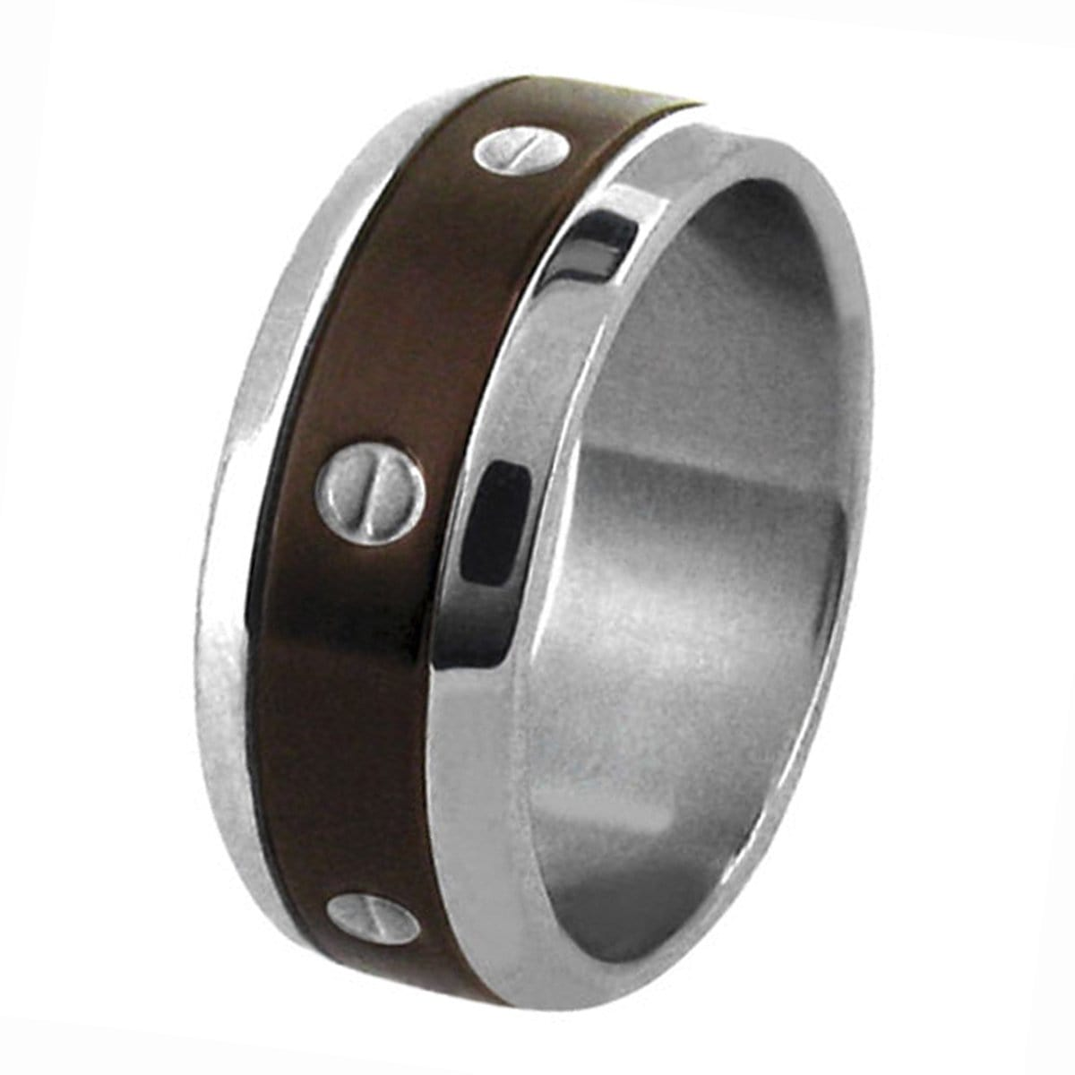 Brown & Silver Stainless Steel with Screw Pattern Ring Rings