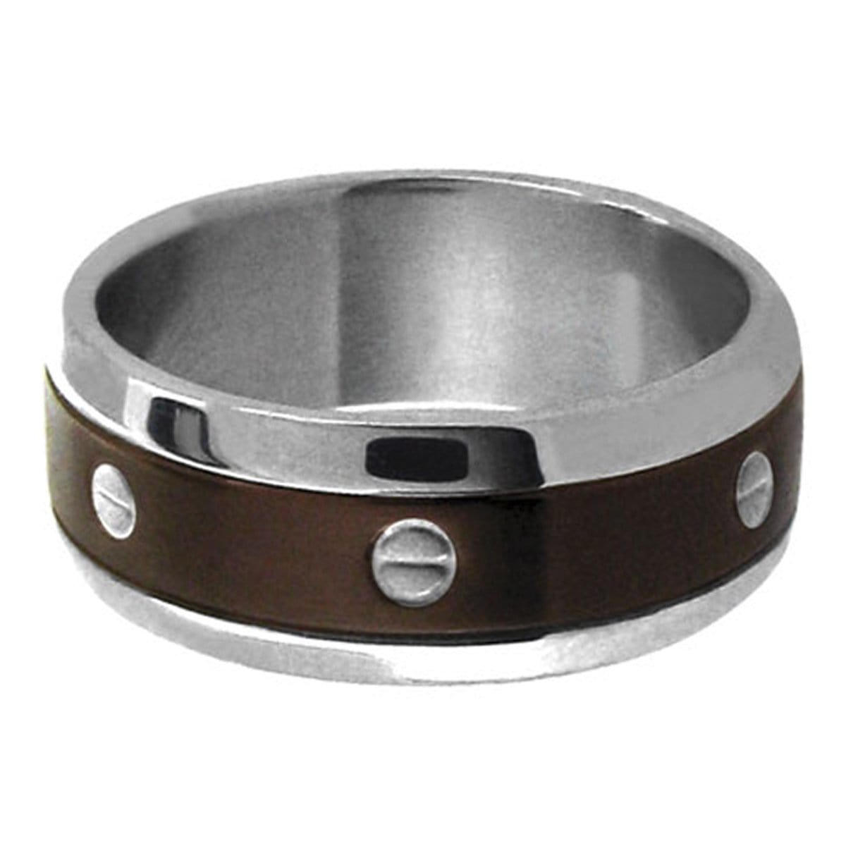Brown & Silver Stainless Steel with Screw Pattern Ring